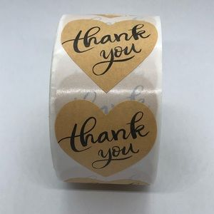Other - 2/$20 Thank You Heart Stickers Roll of 500 labels